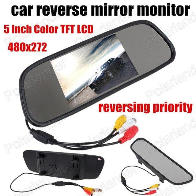 Venta caliente de 5 Pulgadas 480*272 Pantalla HD de Coches Retrovisor Monitor de Ayuda Al Aparcamiento envío Libre revertir prioridad