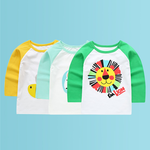 3pcs/lot King Lion Kids T-shirts Clothes Long Sleeve T-shirt For Boy Baby Girls Tops Children's T Shirt For Girls Child T Shirts
