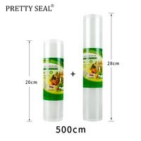 PRETTYSEAL Vacuum Packer Storage Bag for Food Vacuum Sealer Fresh Food Packing 20*5m+28*500cm rollo plastico transparente