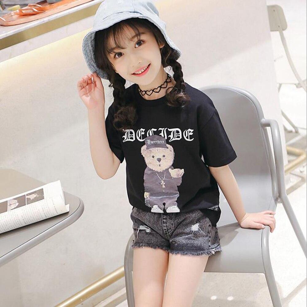 Mimi xiong zestaw 2018 letnie dziewczęce spodenki jeansowe - Ubrania dziecięce - Zdjęcie 3
