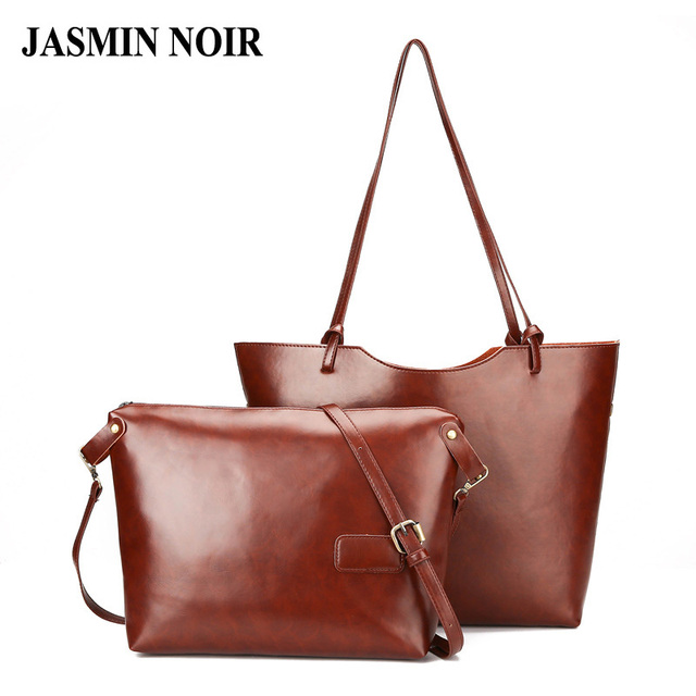 New Simple Large Women Shoulder Bag Brown Luxury Famous Brand Wax Pu Leather Retro Vintage
