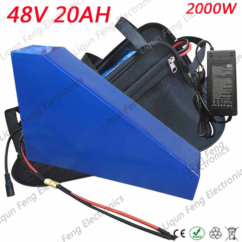 US EU AU No Tax 48V 20AH 2000W Electric Bike battery 48V 20AH Ebike Triangle Battery with free Bag 50A BMS 54.6V 2A Charger