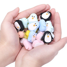 Chenkai 50PCS Silicone Penguin Teether Beads DIY Baby Animal Cartoon Chewing Pacifier Dummy Sensory Jewelry Toy Making Bead
