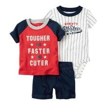 Brandwen Brand Baby Clothing Newborn three pcs /Set Newborn Print Letters Cartoon Cotton Short Sleeve Baby Boy T-shirt Shorts Suit