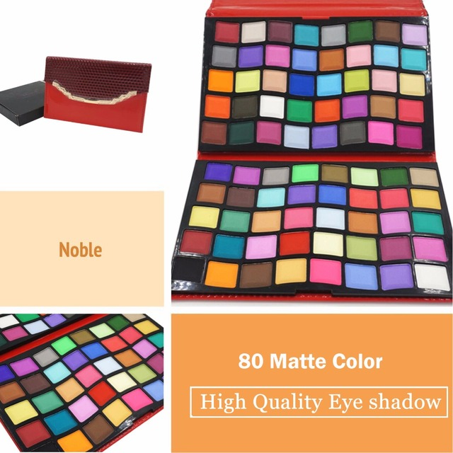 New High Quality Professional Pro 80 Matte Color Cosmetic Makeup Set Palette Bright Eye shadow in Red Noble Handbag B006-R