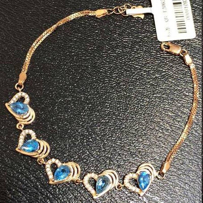 2017 offre spéciale Qi Xuan_Free Mail bleu pierre élégante bracelets _rose couleur or mode bracelets _fabricant directement ventes