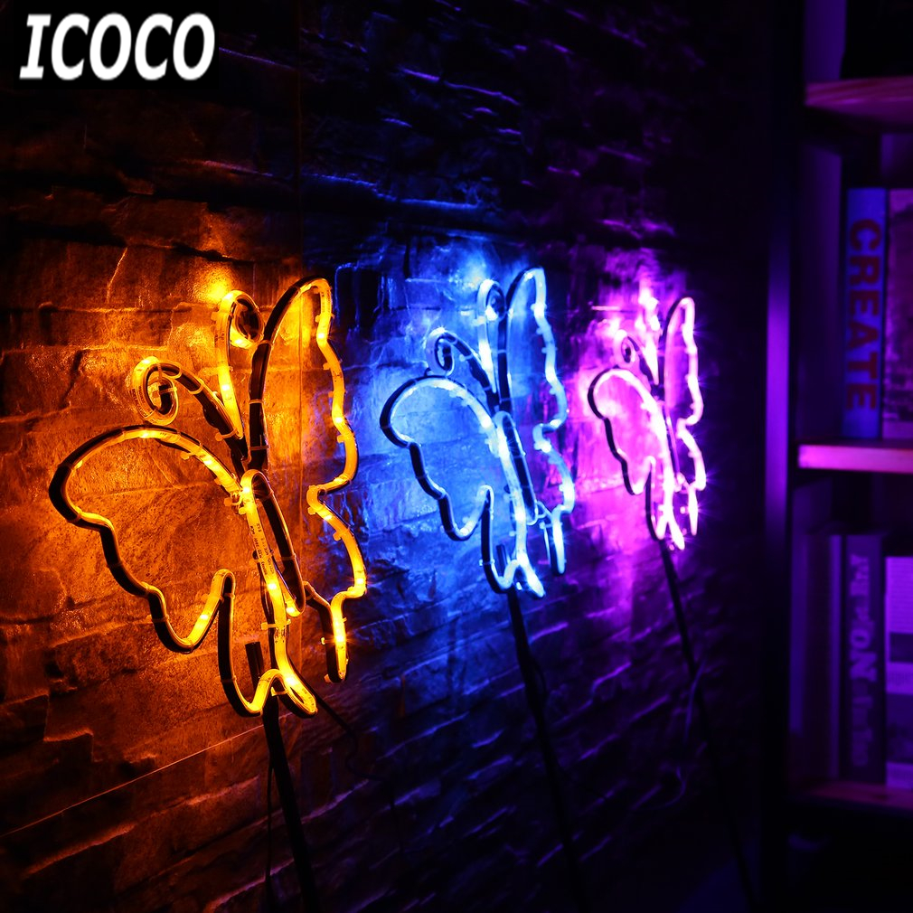 Lights & Lighting Inventive Icoco 3pcs/set Butterfly Shaped Neon Sign Light Kit Night Lamp Wall Light Coffee Bar Mural Crafts Neon Sign Room Home Decor
