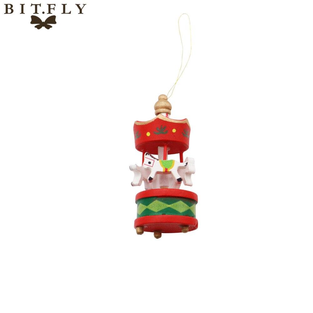 6pcs Merry Christmas Wood Carousel Horse Ornaments,Mini Beautiful ...