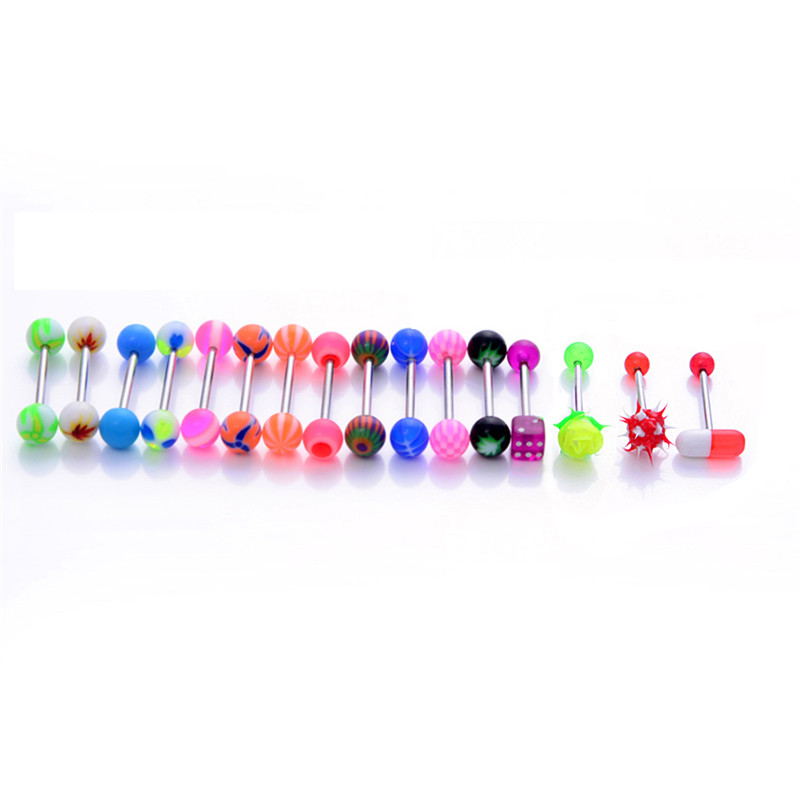 16Pcs Mixed 316L Surgical Steel With Koosh Silicon True Blue Piercing ROSE Tongue Bars