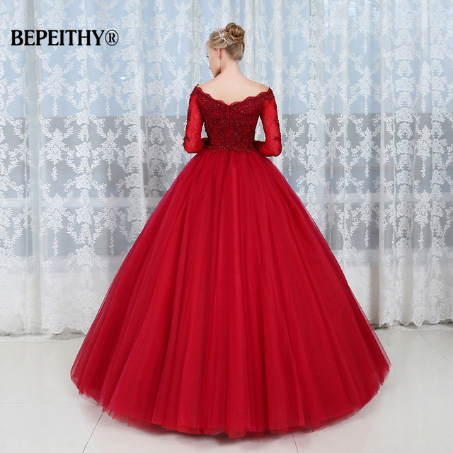 Robe De Soiree Ball Gown Lace Top Evening Dress Party Elegant Long Sleeves Floor Length Vintage Prom Gowns
