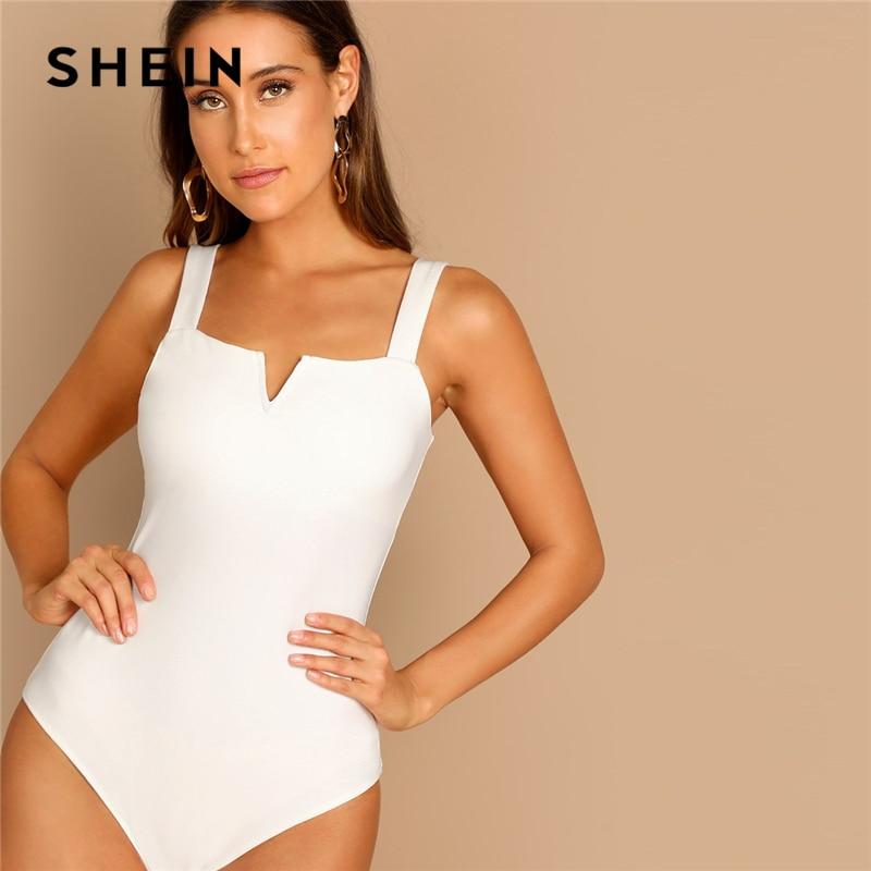 SHEIN Elegant White V-Cut Front Mid Waist Straps Skinny Plain Bodysuit For Casual Women Streetwear 2019 Spring Modern Lady