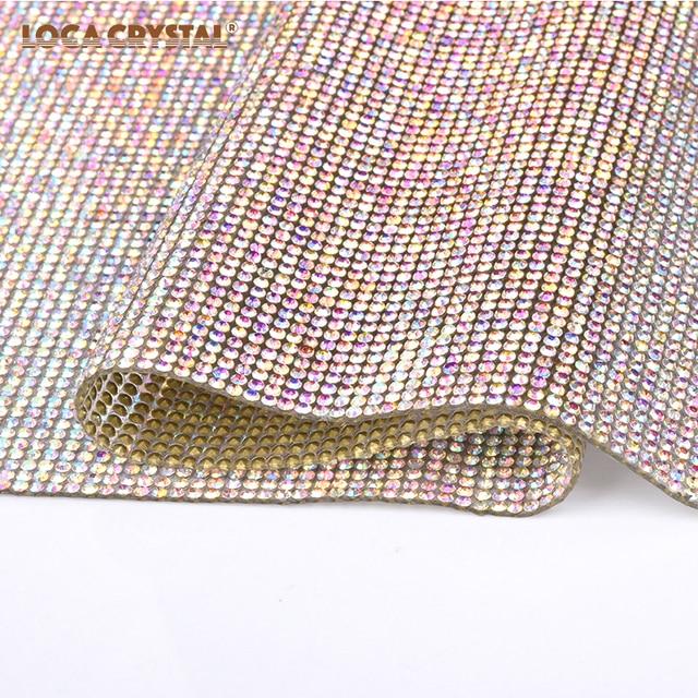 Iron on Crystal Beads Hot Fix Rhinestone Mesh Pointback Round Shape  rhinestone Sheet LOCACRYSTAL 6dab7b6f443d