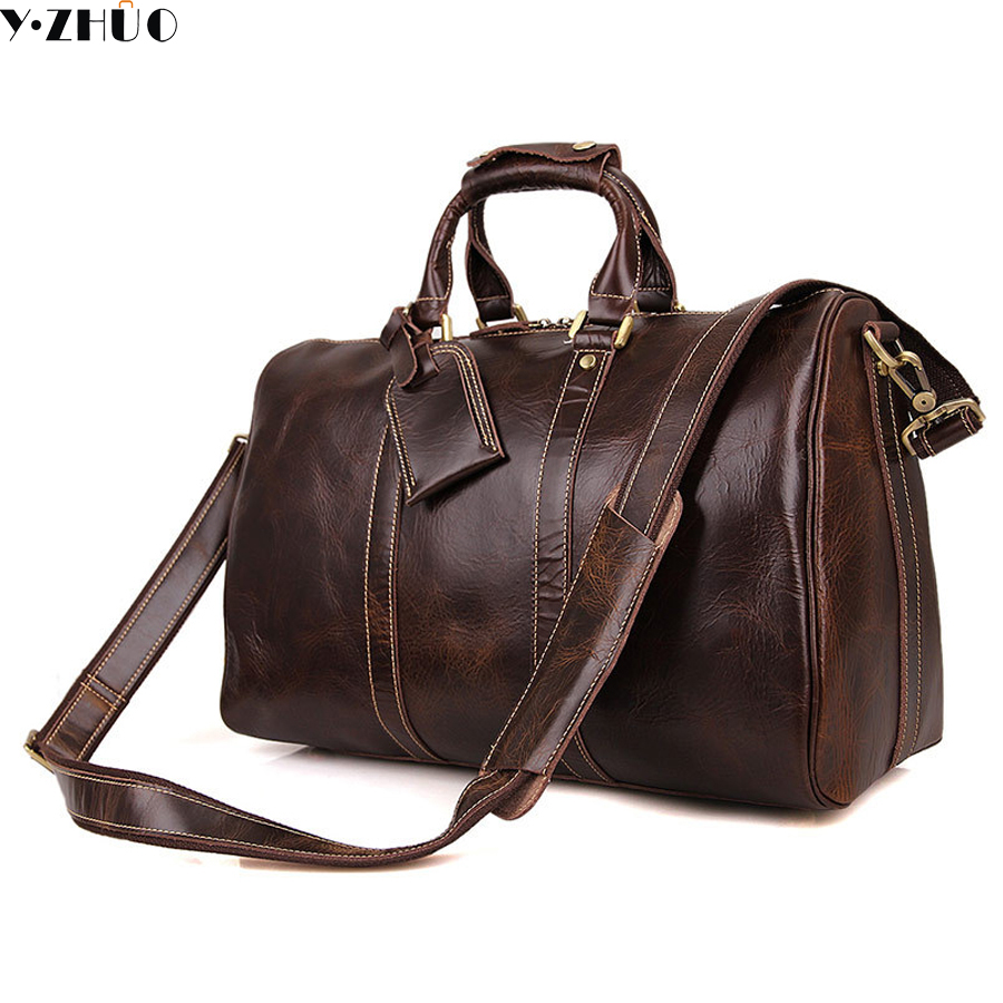 15.6 inches cowhide genuine leather men travel luggage bags big handbag men shoulder duffel bag vintage crossbody bags vintage fashion men big travel bags made by genuine leather men sports hiking messenger bags cowhide shoulder bags for men 2016