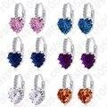 Luxo Colorido Banda Coração Real Pure 925 Sterling Silver Jóias Cubic Zirconia Pedra Brincos Moda Mulheres Favoritos