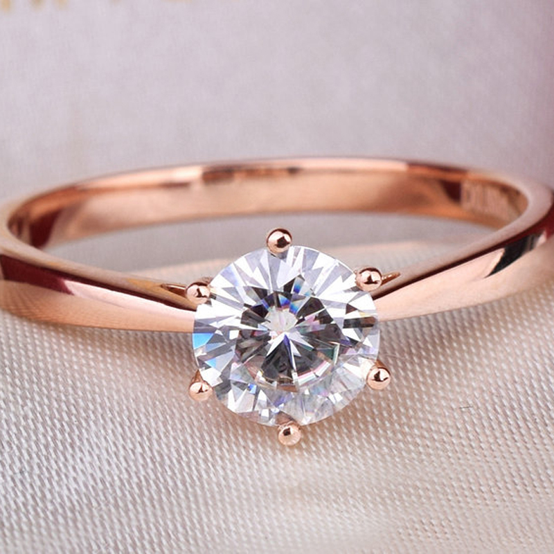 Simple Classic Genuine 14K Rose Gold 1 Carat ct No Less Than GH Engagement&Wedding Lab Grown Moissanite Diamond Ring For Women