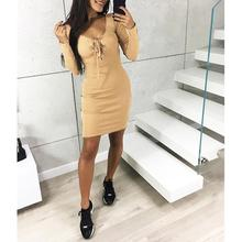 Cross Straps Women Bodycon Dress Long Sleeve Sexy Low-Cut Winter Basic Casual Mini Dresses Femlae Short Party Vestidos SJ1201M