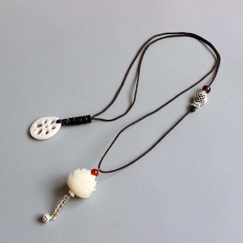 2017 neue Mode Bodhi Samen Handcrafted Lotus Blume Anhänger Elegante Seil Lange Halskette Für Frauen Mädchen Ethnischen Schmuck Großhandel