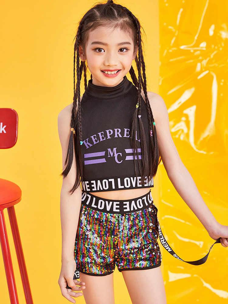 Nhạc Jazz Nhảy Dance Bé Gái Hàn Quốc Rốn Kim Sa Lấp Lánh Trang Phục Mùa Hè Triều Thoáng Mát Đẹp Trai Hip Hop Áo Vest Quần Áo Tập