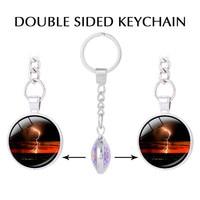 Lightning Keychain For Keys Blue Lightning Glass Key Holder Lightning Cloud Keychains Photo Charm Couple Keychain