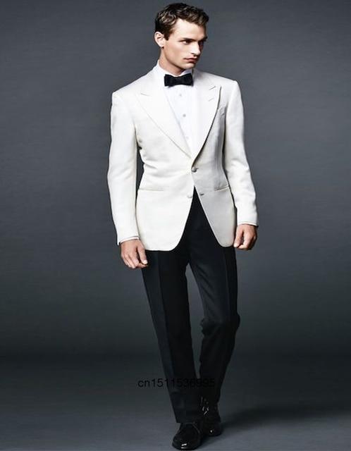 Classique Style Homme Costume Blanc Veste Pour Le Mariage Costumes Pesked  Revers Marié Smokings de Garçons