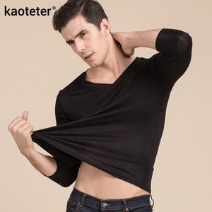 Image 4 - 100% gerçek ipek erkek t shirt sonbahar kış tam uzun kollu V boyun adam vahşi siyah beyaz renk erkek dip tee gömlek Tops