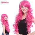 L-email wig Women Cosplay Wigs Pink Anime Curly Wigs Long Wavy Girl Synthetic Wigs 70CM Festive Party Peruca