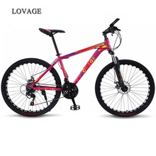 wolfs fang New Mountain Bike Bicycle 26 inches 21speed Fat bike Aluminum alloy frame Road bikes Spring Fork Front and Rear cheap 21 Speed Steel Unisex 0 1 m3 160-185cm Spring Fork (Low Gear Non-damping) Front and Rear Mechanical Disc Brake Hard Frame (Non-rear Damper)