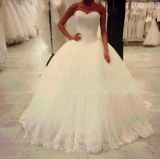 Wd28 Elegant Princess Bling Luxury Pearls Or Crystals White Wedding