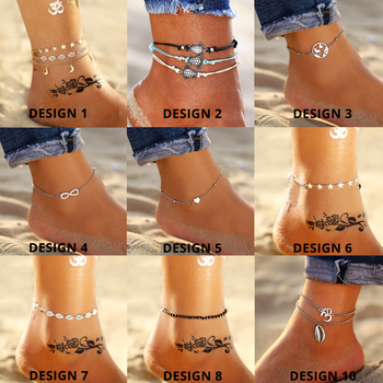 Vintage Gold Silver Color Multilayer Anklets For Women Bohemian Moon Map Beads Leaves Anklet 4