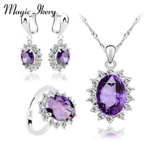 Magic Ikery Luxury Silver Color Jewelry Sets Purple Cubic Zirconia Earrings Pendant Necklace Rings Sets