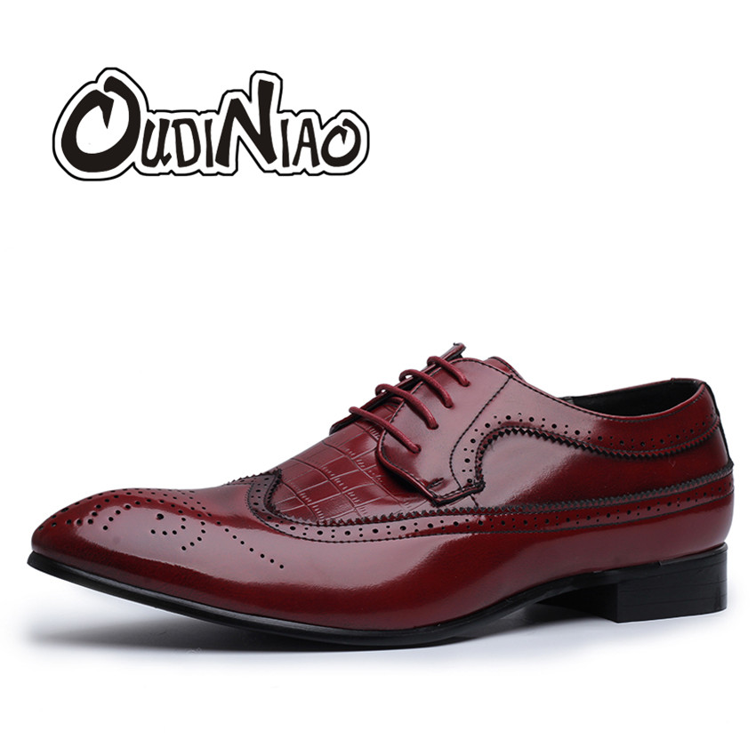 Große Größe 5,5-12 Formal Männer Kleid Schuhe Brogue Elegantes Design Qualität Marke Mens Business Grundlegende Alligator Casual Derby Schuhe Novel Design; In