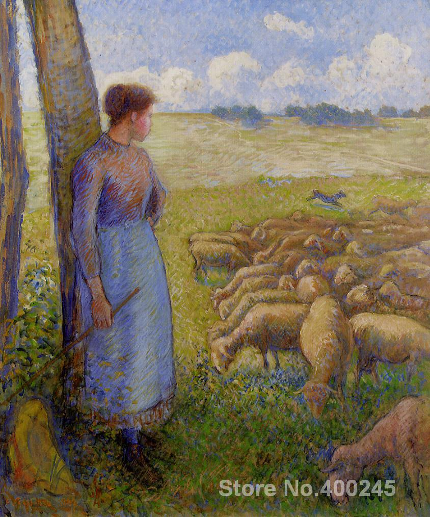 artwork of Camille Pissarro Shepherdess and Sheep handmade art paintings reproduction High Quality