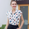 2017 New Summer Casual Chiffon Shirt  Women Printed Blouse Tops Sleeveless Fashion Blouses Shirts Female Office Vintage Shirt
