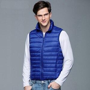 Image 2 - 2020 새로운 남자의 겨울 코트 90% 화이트 오리 조끼 휴대용 울트라 라이트 민소매 자 켓 휴대용 양복 조끼 남자에 대 한