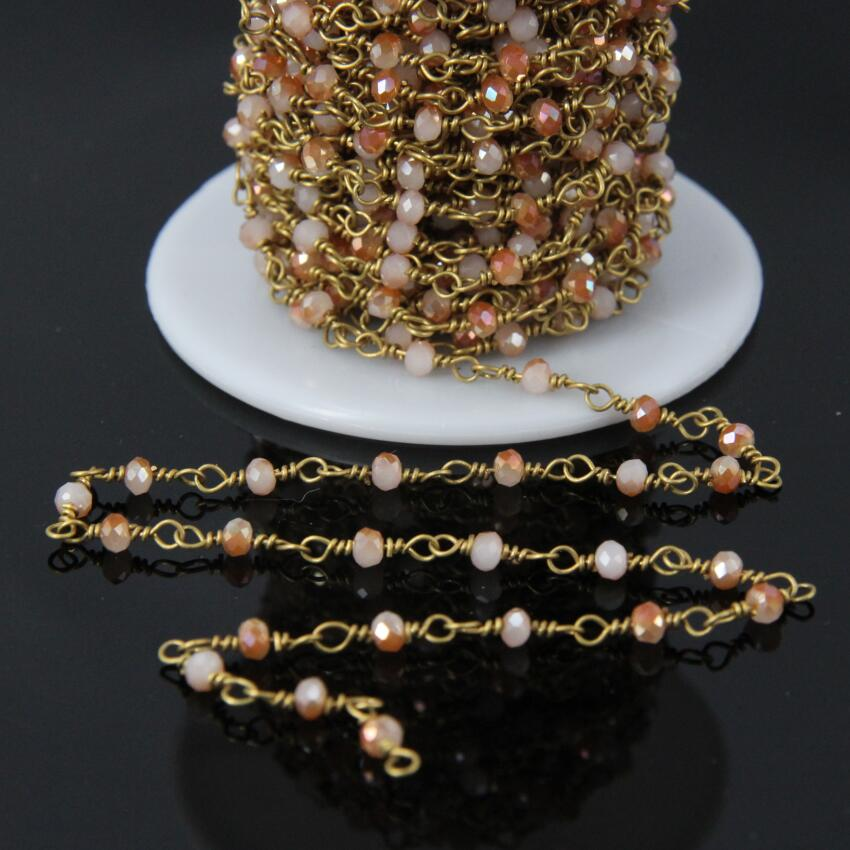 5Meter,<font><b>3x4mm</b></font> <font><b>Crystal</b></font> Glass Rosary Chain,Orange Titanium beige Glass Faceted Rondelle beads plate Brass Wrapped Chain image