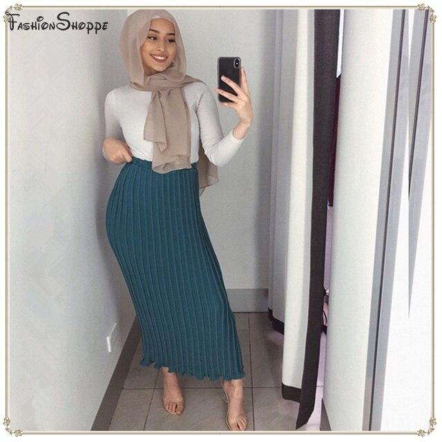 3d97297e10 Warm Skirts High Waist Chiffon Pleated Muslim Long Skirt Women Abaya Dubai Arabic  Turkey Islamic Clothing D900