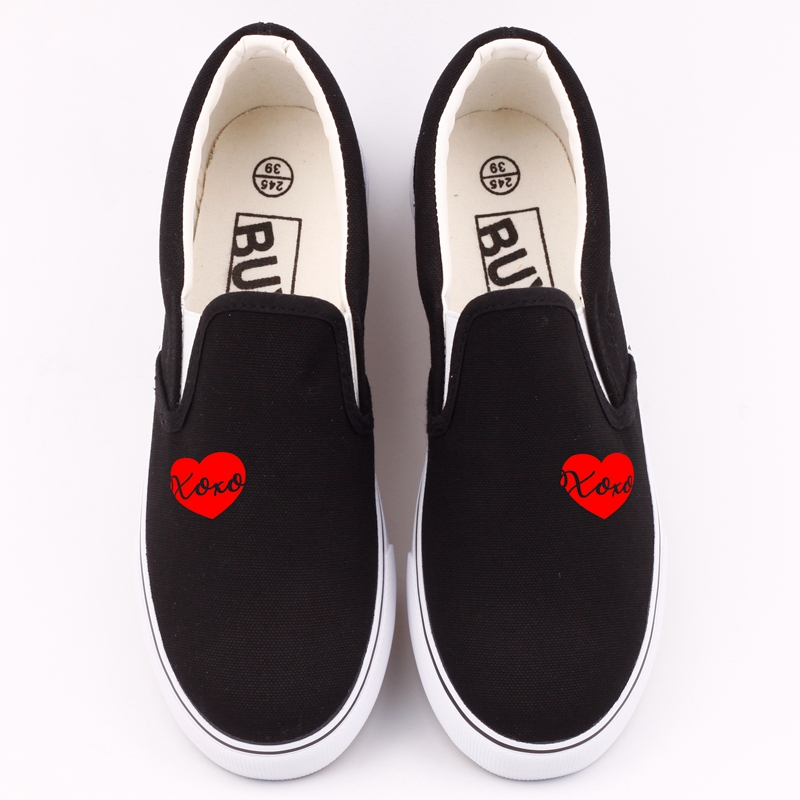 Hip Hop Printed Love Heart Casual Women's Loafers Harajuku Outdoor Flat Leisure Shoes Couples Slip On Oxford Lazy Shoe Zapatos e lov women casual walking shoes graffiti aries horoscope canvas shoe low top flat oxford shoes for couples lovers