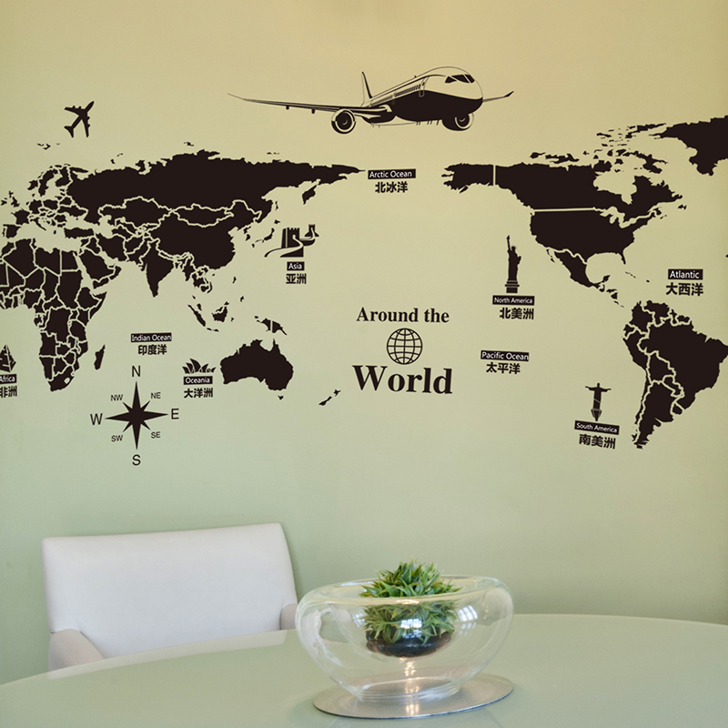 World map poster w130h70 cover travel tourism view wall decal for world map poster w130h70 cover travel tourism view wall decal for office home decor living room adesivos de parede stickers new in wall stickers from home gumiabroncs Image collections