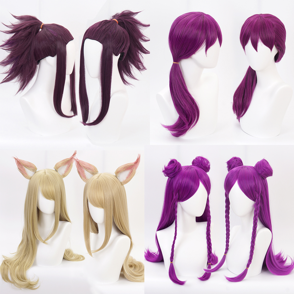 Game LOL Girl  KDA Team Ahri Cosplay Wig Soraka/ Syndra KDA Akali Kaisa Evelynn role play hair wig costumes