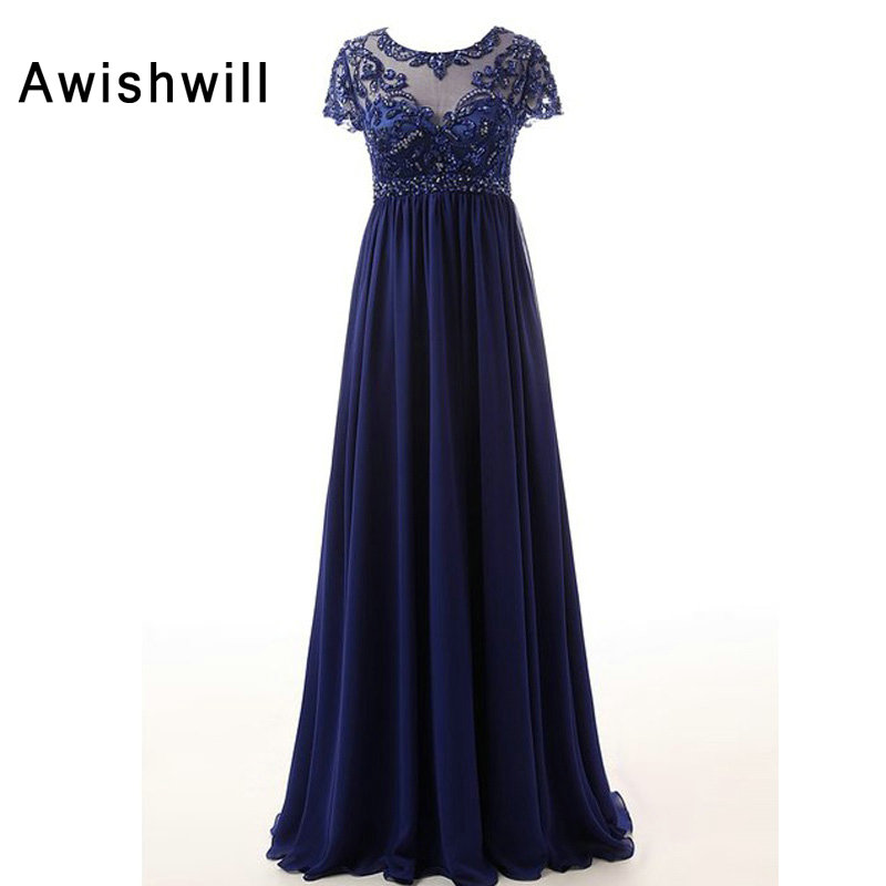 New Arrival Scoop Neckline Beaded A Line Chiffon Long Mother Dresses Elegant Evening Dresses For Weddings 2019-in Mother of the Bride Dresses from Weddings & Events    1