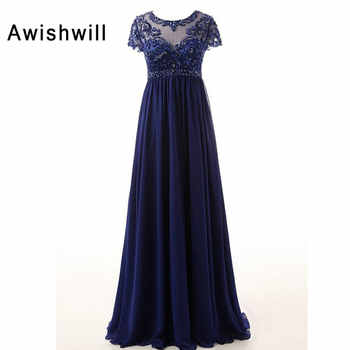 New Arrival Scoop Neckline Beaded A-Line Chiffon Long Mother Dresses Elegant Evening Dresses For Weddings 2019 - DISCOUNT ITEM  26% OFF All Category