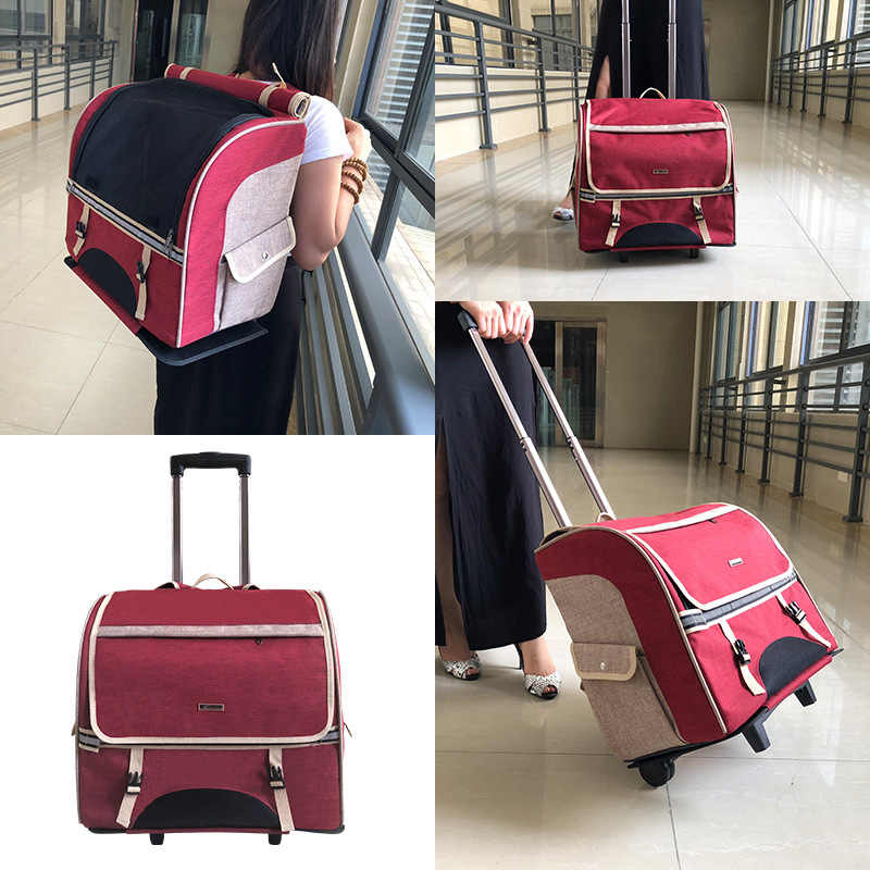 3-in-1 Pet Carrier Travel Backpack trolley Pet Stroller for Dogs and Cats Easy Walk Travel Tote Airline Approved