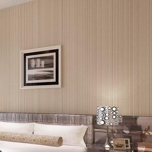 Image 3 - Einfarbig Striped Nicht woven Beflockung Tapete Für Wände Rollen 3D Schlafzimmer Wohnzimmer Klassische Wand Papier Wohnkultur moderne 10M
