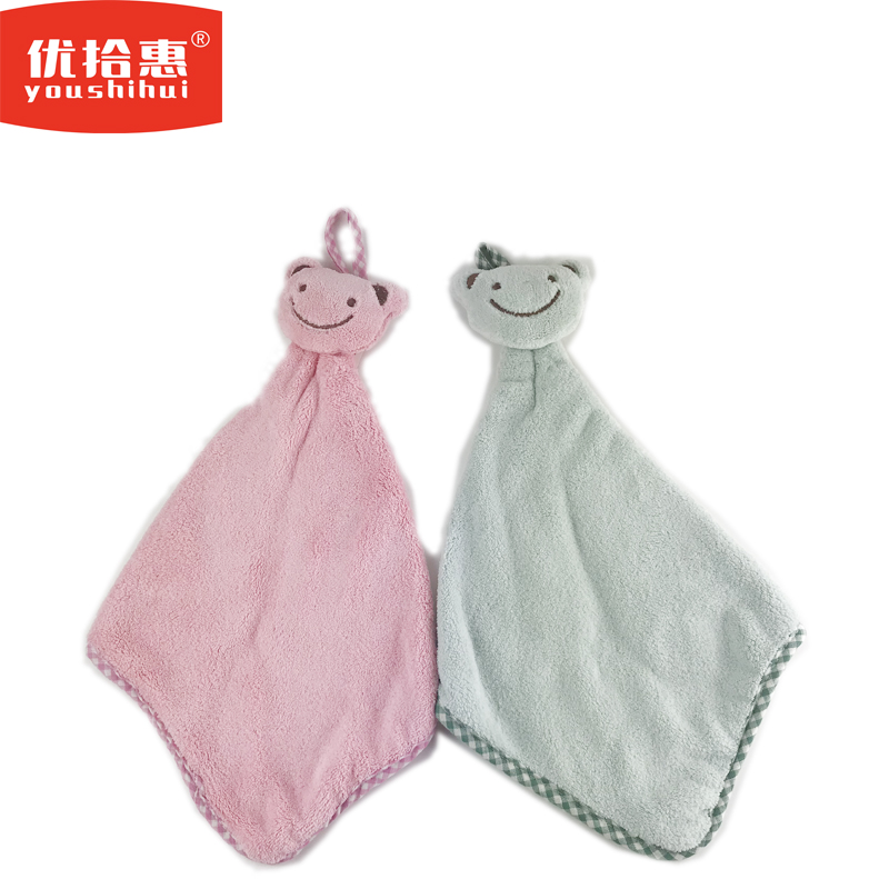 Cute Cartoon Smiley Bear Wipes Coral Fleece Hand Towel Hanging Baby Bath Towel For Bathroom Kitchen