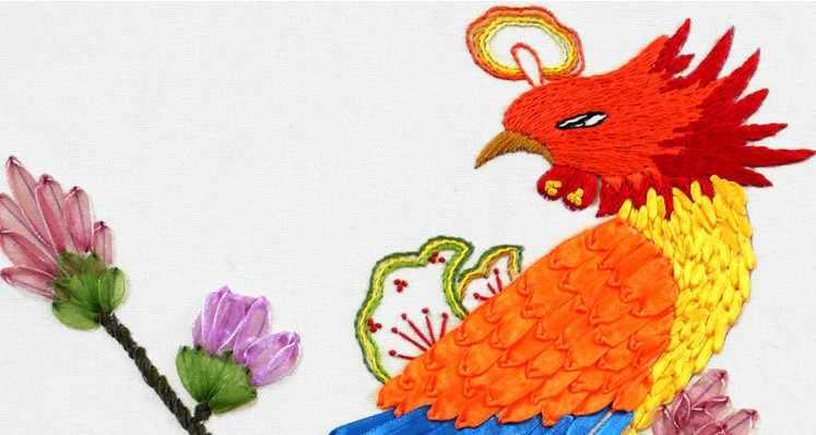 فينيكس الحرير الشريط التطريز طقم الصينية الحرفية عبر غرزة مجموعة ديي اليدوية التطريز الخياطة وازم الفن ديكور المنزل