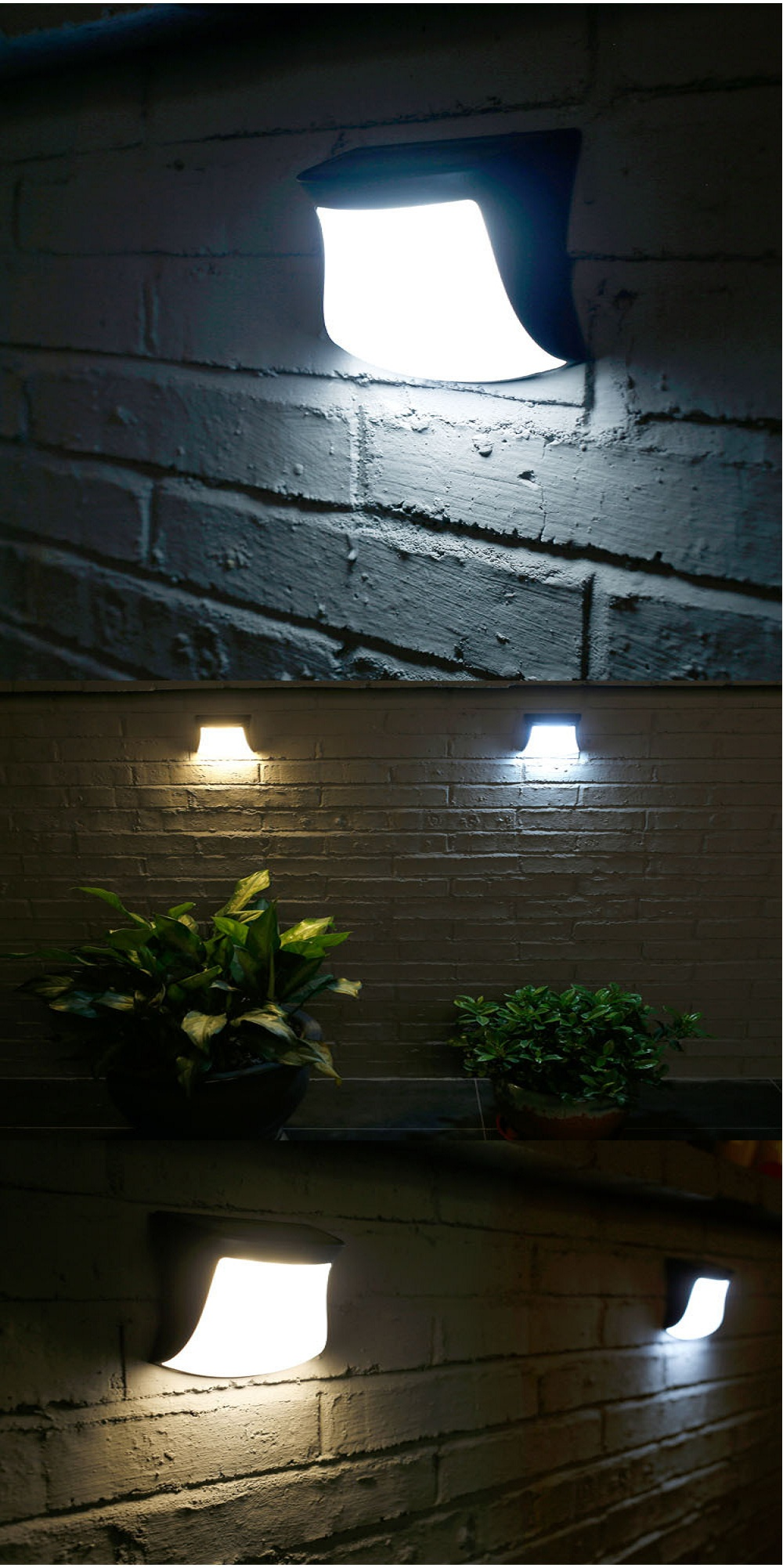 1PCS 3 LED Super Bright Solar Energy Wall Mount Outdoor Garden Lamp