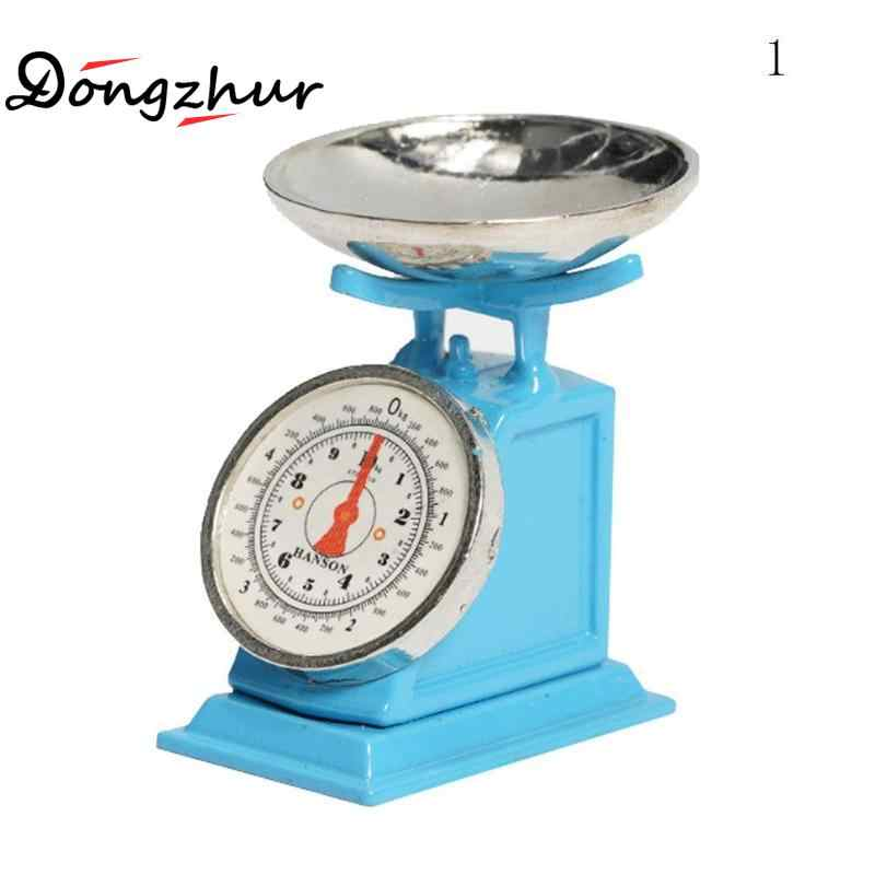 Dongzhur Dollhouse Miniatures 1:12 Accessories Mini Kitchen Scale Miniature Model Blue Or Green Cute Kitchen Scales Dollhouse