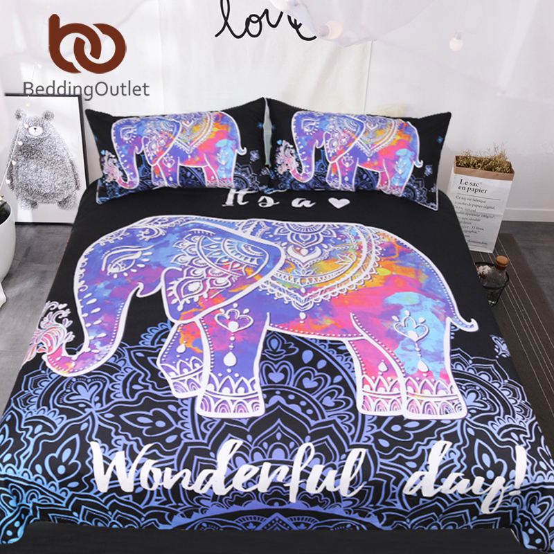 BeddingOutlet Colorful Elephant Bedding Set Queen Size Bohemian Duvet Cover Mandala Bed Set Black Animal Print Bedclothes 3pcs