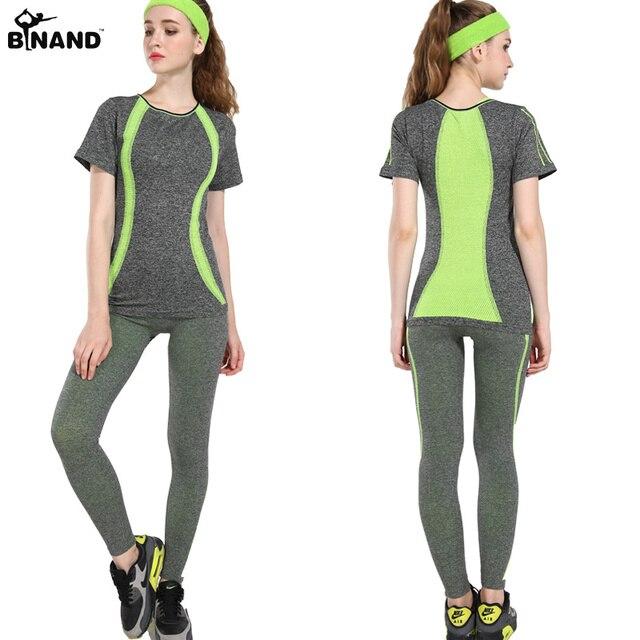 BINAND למתוח פס גבוהה אלסטי נשים יוגה סטי תרגיל ספורט כושר ריצה חליפות יוגה חולצות ואלסטי Slim מכנסיים