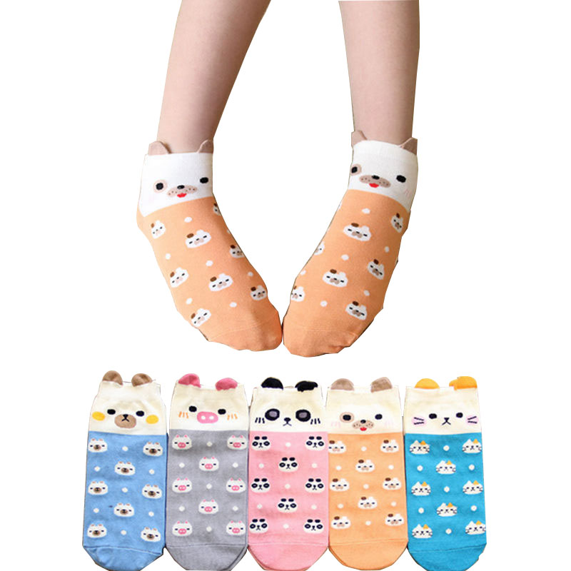 Fashion Cartoon Cotton Womens Socks Casual Character Pig Anmial Pokemon Funny Socks for Girls